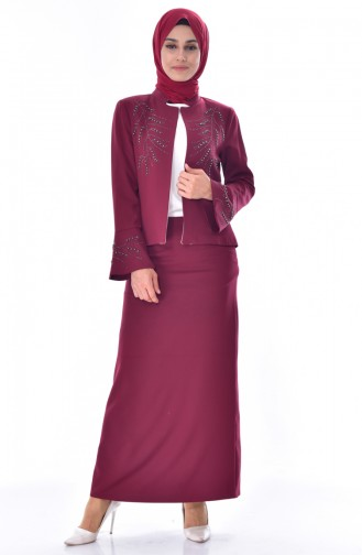 Sefamerve 3 Pcs Suit  1182-04 Claret Red 1182-04