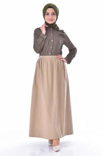 Elastic Waist Skirt 1444-01 Camel 1444-01