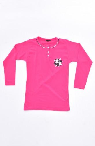 Embroidered Pajamas Suit 0520-03 Fuchsia 0520-03