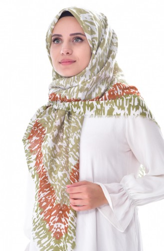Floral Cotton Shawl 001-387-20 Red Khaki 001-387-20