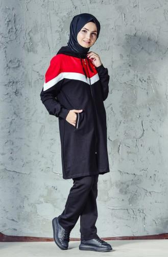 Garnili Eşofman Takım 01923-02 Siyah Kırmızı