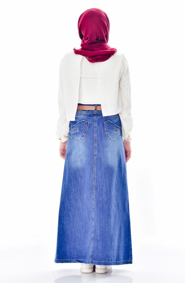 ec8683404 تنورة جينز بتصميم حزام للخصر 3364-01لون أزرق جينز 3364-01