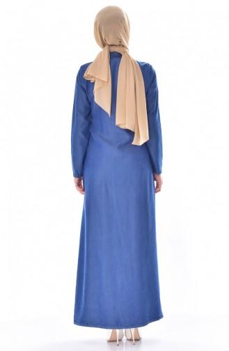 عباءة جينز بتصميم سحاب مُزين باللؤلؤ 9236-01 لون ازرق جينز 9236-01