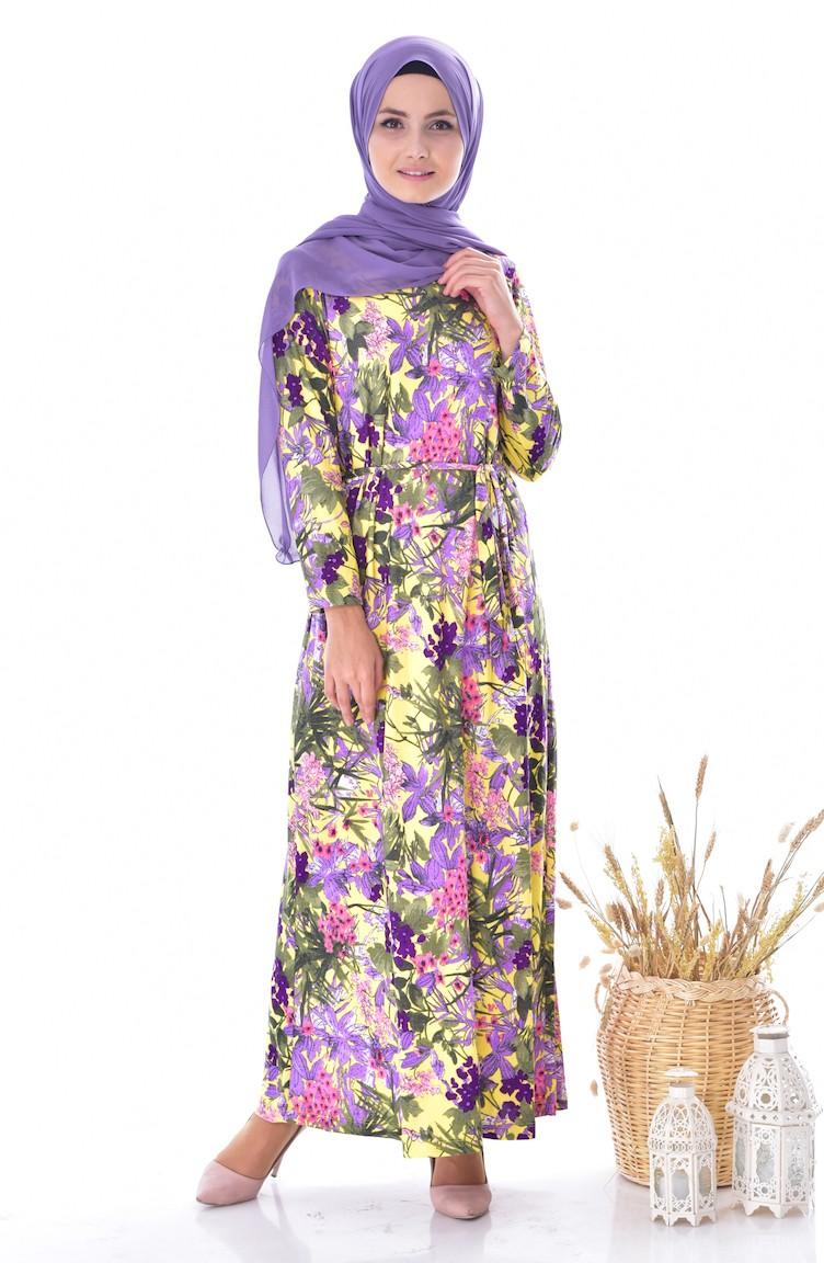 83a69e77db26a Desenli Kuşaklı Elbise EL00016D-01 Sarı