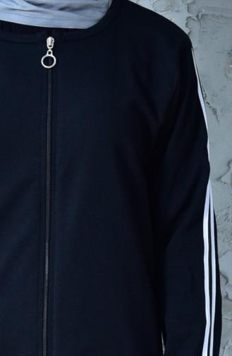 بدلة رياضية بتصميم سحاب 18093-01 لون اسود 18093-01