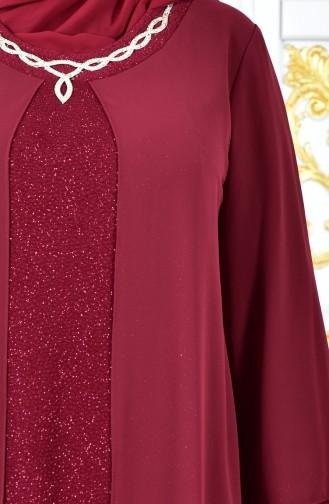 Übergröße Abendkleid mit Glitzer 1047-04 Weinrot 1047-04