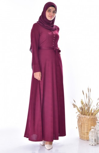 فستان بتفاصيل من الأزرار1866-05 لون خمري 1866-05
