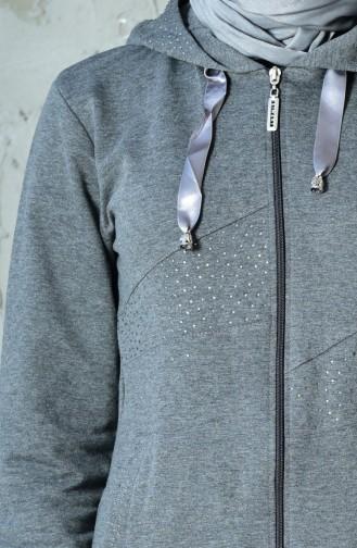 بدلة رياضية بتصميم سحاب مزين باحجار لامعة 01861-04 لون رمادي 01861-04
