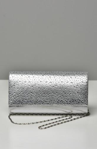 Silver Gray Portfolio Hand Bag 0426-03