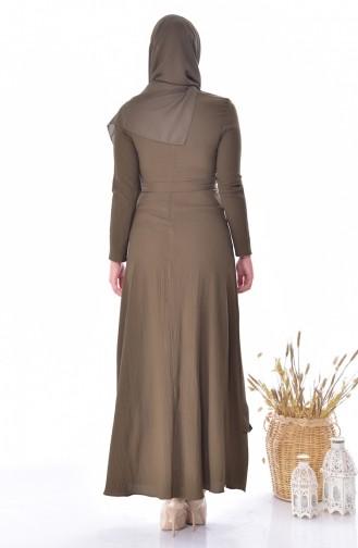 Falbel Kleid mit Gürtel 8038-04 Khaki 8038-04