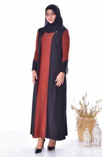 فستان بتصميم موصول بقطعة 4482-08 لون قرميدي 4482-08