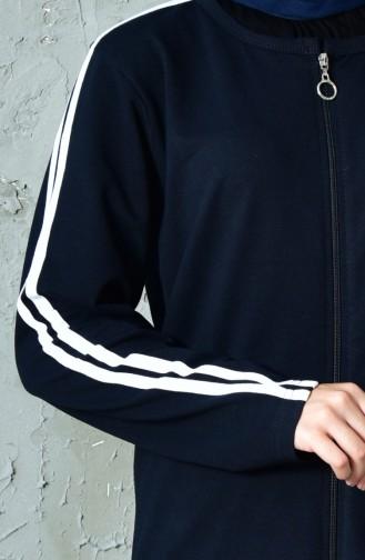 بدلة رياضية بتصميم سحاب 10110B-02 لون كحلي 10110B-02