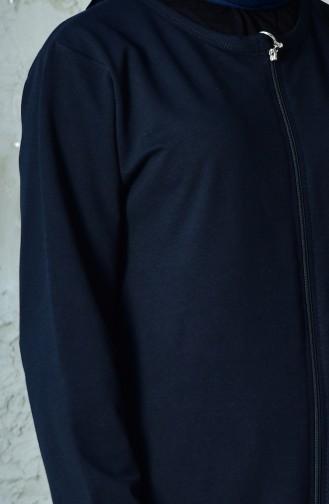 بدلة رياضية بتصميم سحاب 10110C-02 لون كحلي 10110C-02