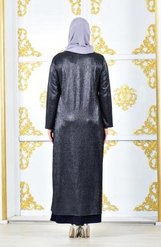 Robe de Soirée Grande Taille 1060-01 Bleu Marine 1060-01