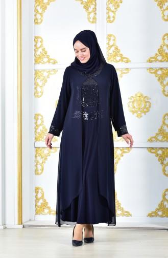 Payet Detaylı Şifon Elbise 2180-04 Lacivert 2180-04