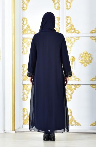 Pailetten Kleid aus Chiffon 2180-04 Dunkelblau 2180-04