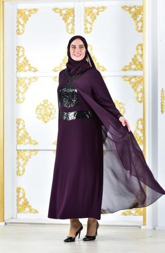 Pailetten Kleid aus Chiffon 2180-05 Lila 2180-05