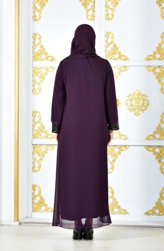Sequin Chiffon Dress 2180-05 Purple 2180-05