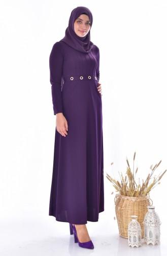 Kleid mit Gürtel 4474-02 Lila 4474-02