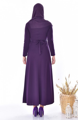 Belted Dress 4474-02 Purple 4474-02