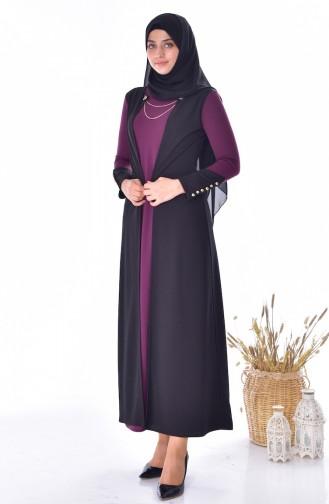 فستان بتصميم موصول بقطعة 4482-05 لون ارجواني 4482-05