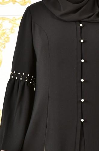 Uzun Ceketli Elbise 1817032-205 Siyah Beyaz