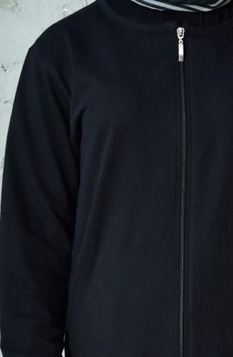 بدلة رياضية بتصميم سحاب 10100C-01 لون اسود 10100C-01