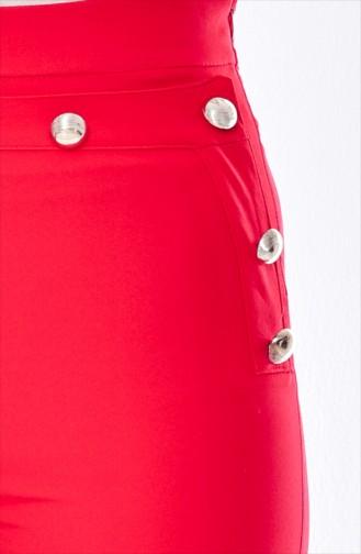 بنطال بتصميم قصة مُستقيمة 1614-05 لون احمر 1614-05