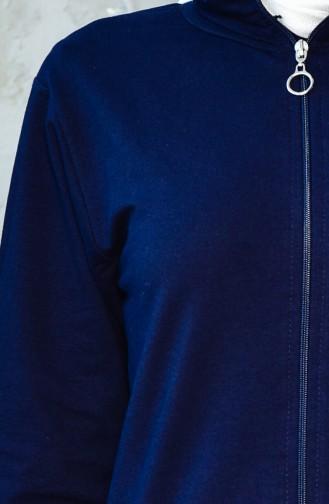 بدلة رياضية بتصميم سحاب 20100C-02 لون كحلي 20100C-02