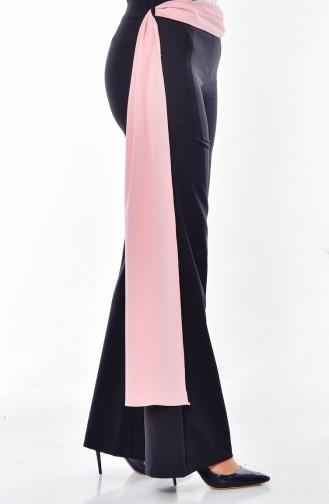Kuşaklı Düz Paça Pantolon 1653-04 Siyah
