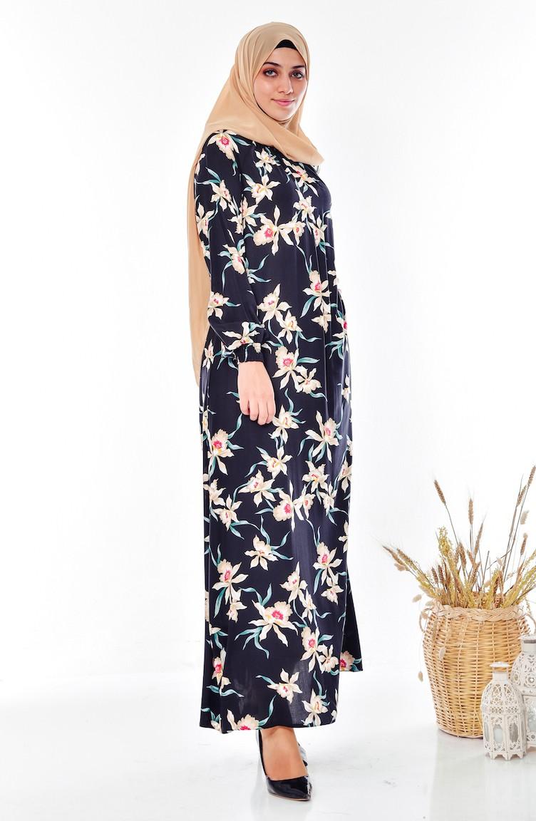 43343ca3d4ca0 Çiçekli Lastikli Elbise 0216-01 Siyah