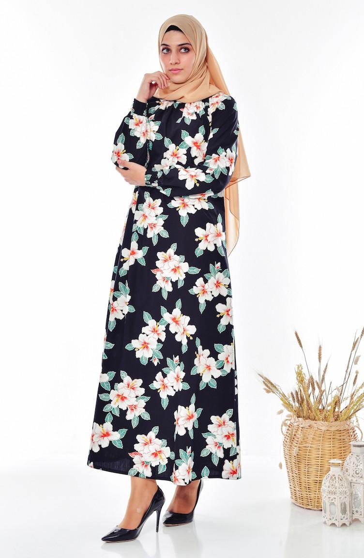 ee652e13edd8f Çiçekli Desenli Elbise 0217-01 Siyah 0217-01