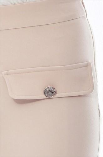 Cep Detaylı Düz Paça Pantolon 1647-01 Vizon