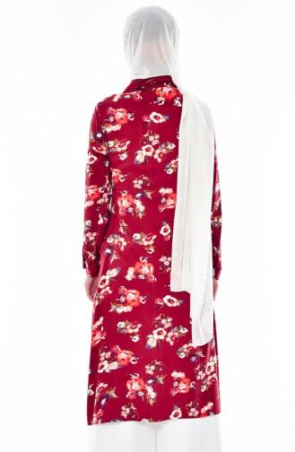 Blumen Gemusterte Tunika 5006-02 Weinrot 5006-02