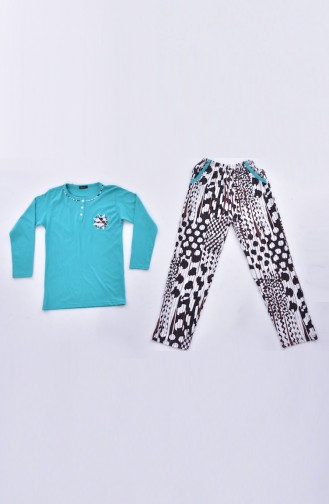 Embroidered Pajamas Suit 0520-02 Green 0520-02