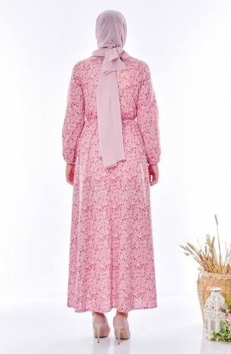 Robe a Motifs 6162H-01 Rose Pâle 6162H-01