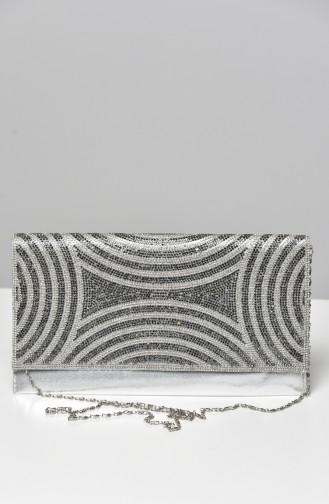 Silbergrau Portfolio Handtasche 0400-02