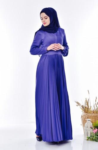 Pliseli Elbise 28358-04 İndigo 28358-04