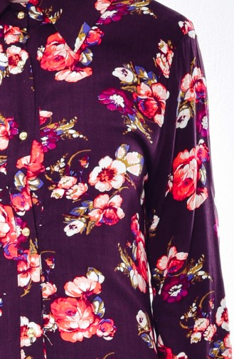 Tunique a Motifs Fleurs 5006-03 Brun 5006-03