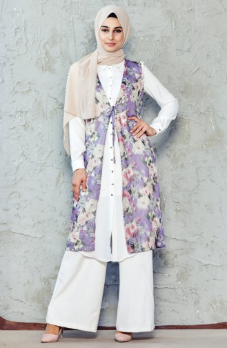 Patterned Vest  1747A-01 Purple Light Beige 1747A-01