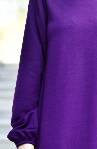 Kolu Lastikli Elbise 6666-11 Mürdüm