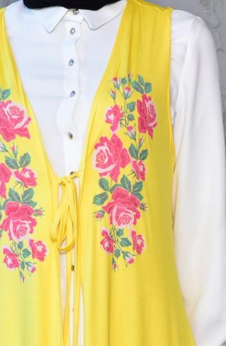 Flower Printed Vest 1766-03 Yellow 1766-03