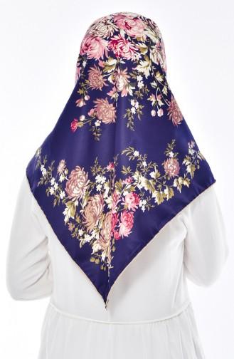 Blumen Gemustertes Twill Kopftuch 50116-30 Dunkelblau Beige 50116-30