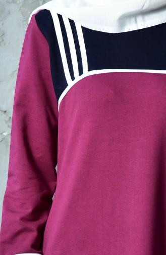BWEST Striped Sports Dress 8207-06 Claret Red 8207-06