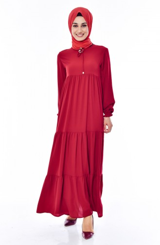 Pleated Dress 1029-03 Claret Red 1029-03