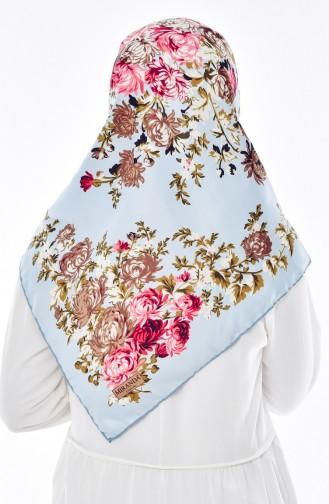 Blumen Gemustertes Twill Kopftuch 50116-31 Baby Blau Mandel Grün 50116-31