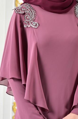 فستان سهرة بتفاصيل مُطرزة 1285-01 لون وردي باهت 1285-01