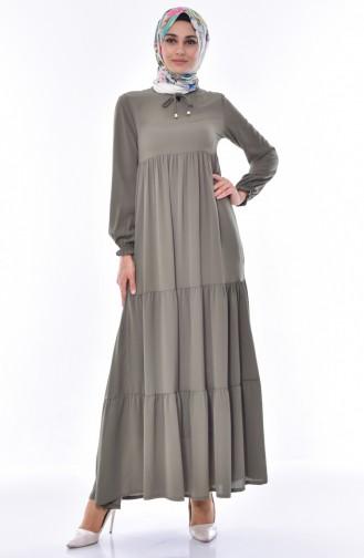 فستان بتصميم طيات 1029-04 لون أخضر كاكي 1029-04