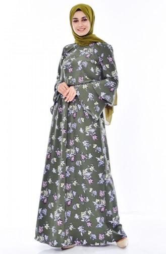 فستان بتصميم مورّد 60004-01 لون اخضر كاكي 60004-01