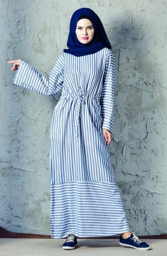فستان رياضي بتصميم مُخطط4402-04 لون نيلي 4402-04